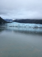 Cruise Bay glacier from cabin.  Note for perspective the ship in picture