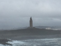 Tower of Hercules in La Coruna, from our cabin, a rough morning, but it got better!