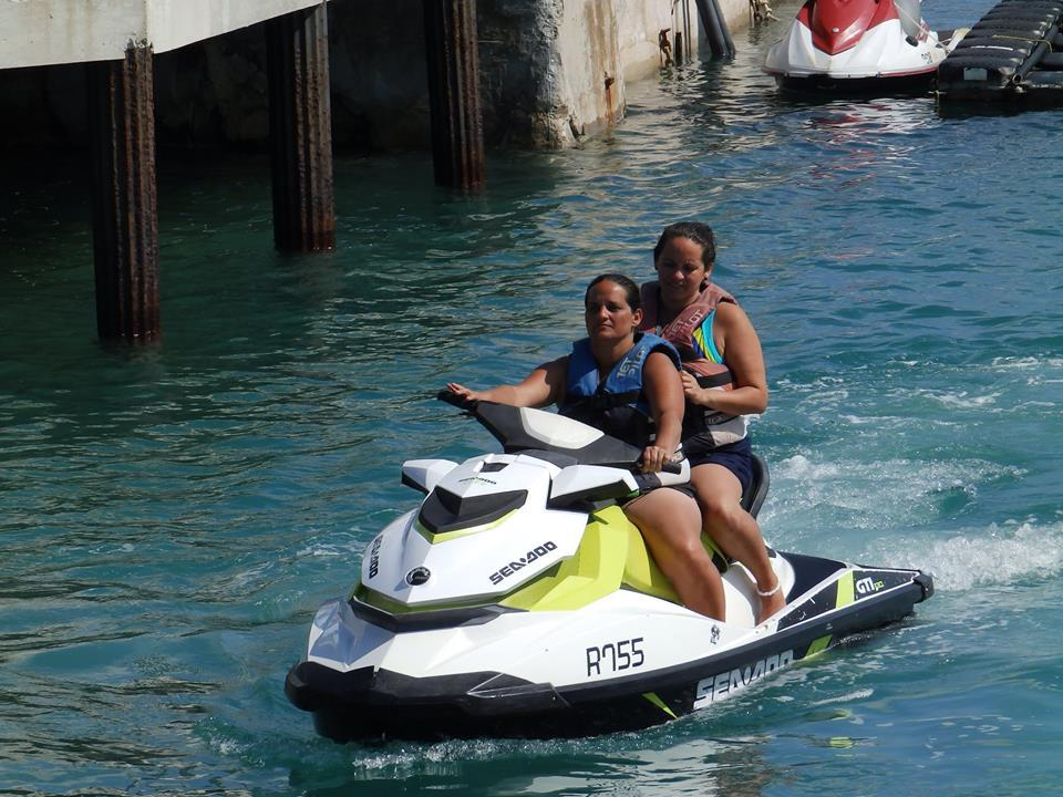 Jet skiing right off the ship in King's Wharf
