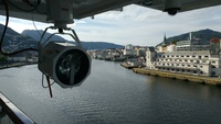 Our view of Bergen, Norway harbor from our first Veranda Stateroom 5002.  S