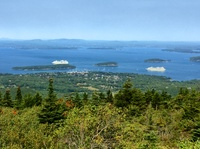 View from top of Cadillac Mountain in Acadia National Park. Our ship on rig