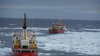 The Shackleton and a Canadian Coast Guard ice breaker ahead of us cutting a