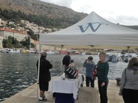 Waiting for the tender in Dubrovnik.  Tent, refreshments and a welcoming cr