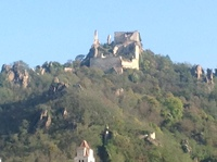 Photo of hilltop castle from ship.