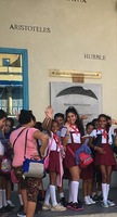 Schoolchildren waving at us in Havana.  All the locals were so friendly