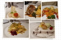 This a collage of a sampling of food aboard Avalon Impression.