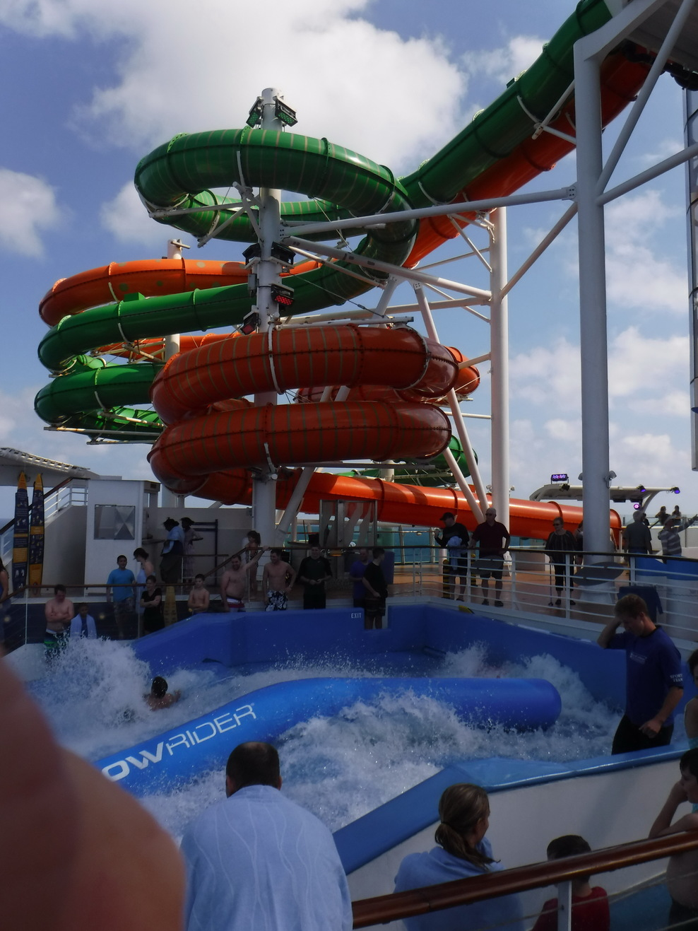 The water slides and the Flow Rider located on Deck 12 at the back of the s