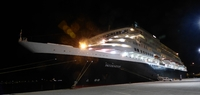 Prinsendam at dock in Dubrovnik after dark