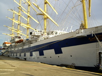 Royal Clipper in dock.  Most of the time you enter by Tender, even with lug