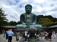 The Kotoku-in Temple's Great Buddha: a 13m high bronze statue still stand