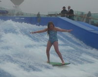 grand-daughter mastering the flowrider