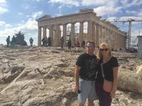 My husband and I in front of the Parthenon.