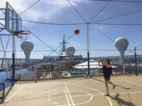 Basketball court overlooking the pools on Deck 12, aft.