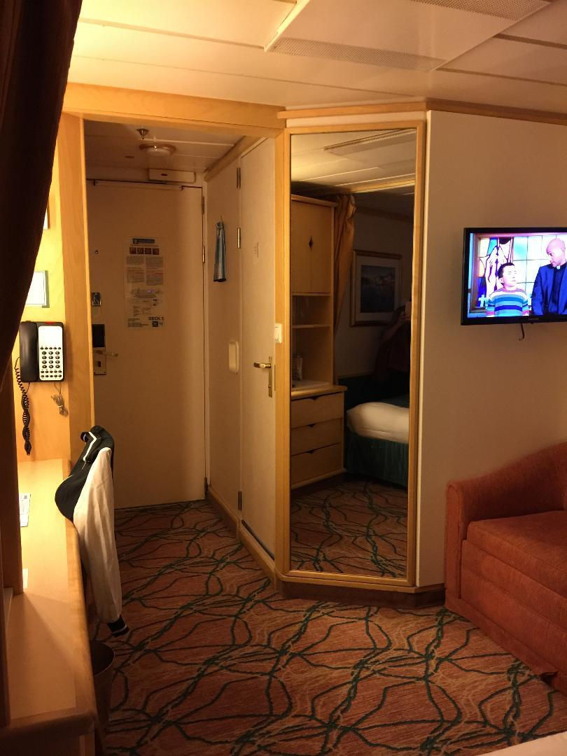 Interior Stateroom 3671 looking from the bed towards the bathroom/door