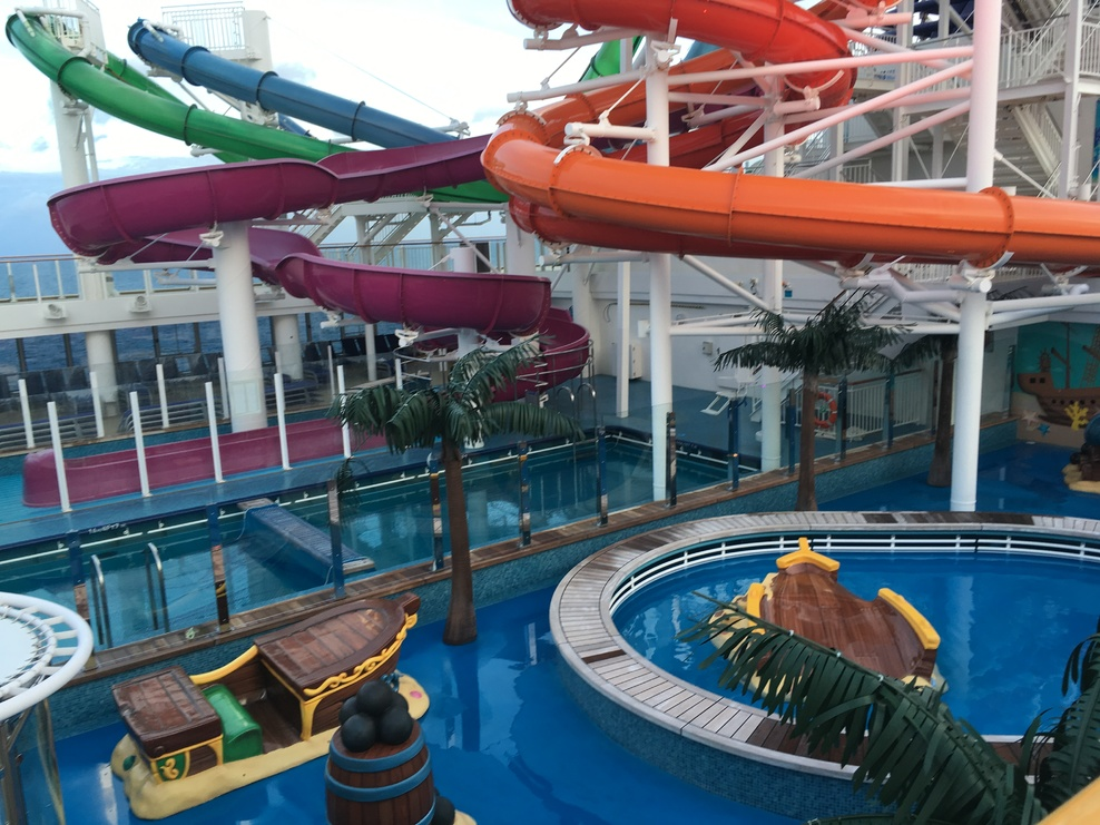 Water slides for the kids and adults and a splash pad for the younger ones.