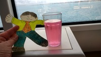 Flat Stanley enjoy the view and a drink