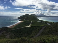 Atlantic on the left and Caribbean on the right from hill top on St. Kitts.