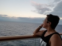 Me on my balcony enjoying the sunset...I have cruised many times before on different ships and once before on NCL but for the first time in my life I had to traveled solo...I am a Widow now :(