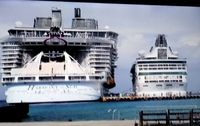 To show the size difference. The Harmony of the Seas docked next to The Vis