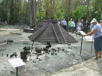 Scale replicas of Mayan temples at the Discover Mexico museum, Cozumel