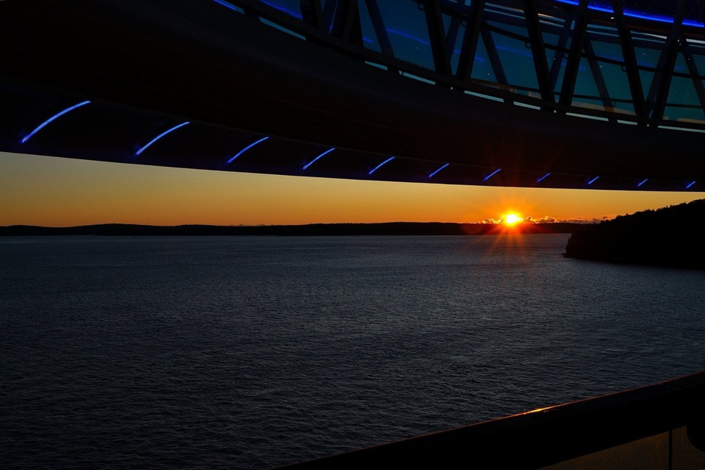 Good Morning Bar Harbor Maine.  Beware the skywalk above the Marina Deck if you take photos.