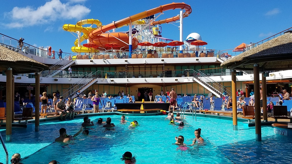 Lido deck, main, mid ship pool showing the waterslide above and beyond that