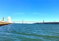 View of 25 de Abril Bridge in Lisbon. We took the amphibian tour. great vie