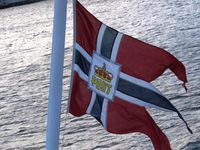 Ship's flag showing Royal mail carrier