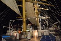 Night shot on the main deck towards the stern of the ship