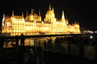 The Parliament building at night as we set sail