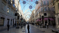 Main city center street decorated for Christmas in Malaga