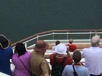 Passengers on Helipad viewing the Panama Canal after ships Captain opened that restricted area for all Passengers to use