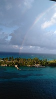 In Port in Nassau. This rainbow as viewed from our deck 14 balcony about sums up our cruise.