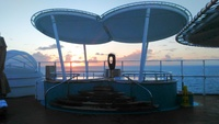 A beautiful sunset from the deck 17 Vibe Beach Club.  The Vibe is 18 & over, $100 extra fee but we