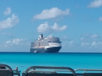 View of ship from Half Moon Cay beach.