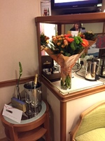 Our welcome flowers and champagne (for our anniversary)