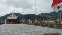 Waiting for the massive tanker to join us in the lock at the Panama canal.