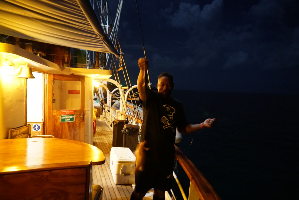 The chef fishing from the ship while docked. He let me pull one up!