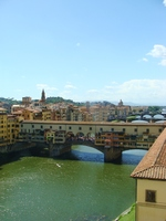 View of the Ponte de Vecchio from the Uffizi Galleria in Florence