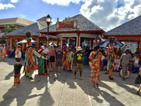 Colourful dancers in St Kitts port area.