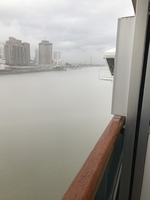 New Orleans Port, Mississippi River from my Balcony on Deck 8 right by the bridge!