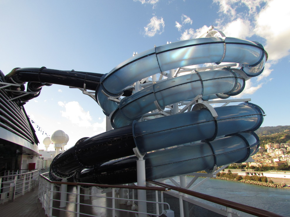 Water slide/tube that didn't work for at least half the voyage.
