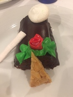 Traditional Bouche de Noel Christmas dinner dessert.