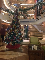 The atrium decorated for Christmas