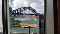 View of Sydney Harbour Bridge from our aft veranda.