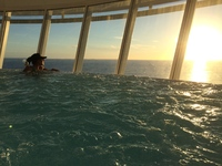 view of the hot tub that hangs off the side of the ship