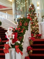 Ships holiday decorated staircase.
