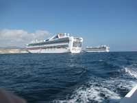 Emerald Princess and Grand Princess at anchor in Cabo San Lucas
