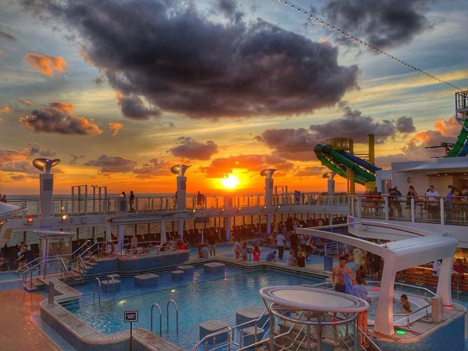 Sunset at the pool deck