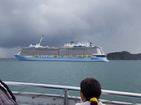 Ovation of the Seas, moored at Bay of Islands, NZ. The weather on Jan 1 201
